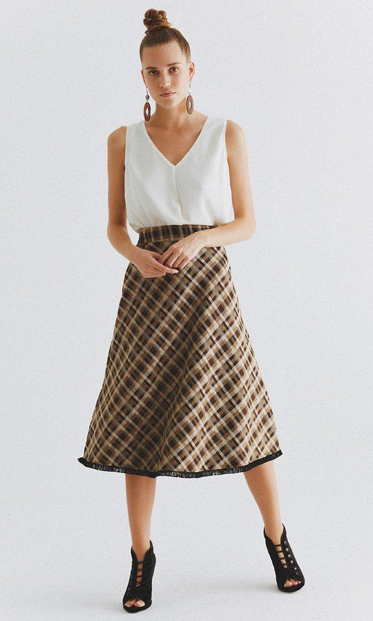 Greyscale Tartan Plaid Skirt