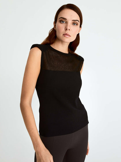 ROMAN USA-Cap Sleeve Knit Top-- [BLACK]