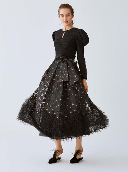 Frill-Trim Evening Skirt