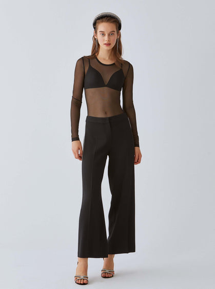 Sheer Scoop-Neck Bodysuit
