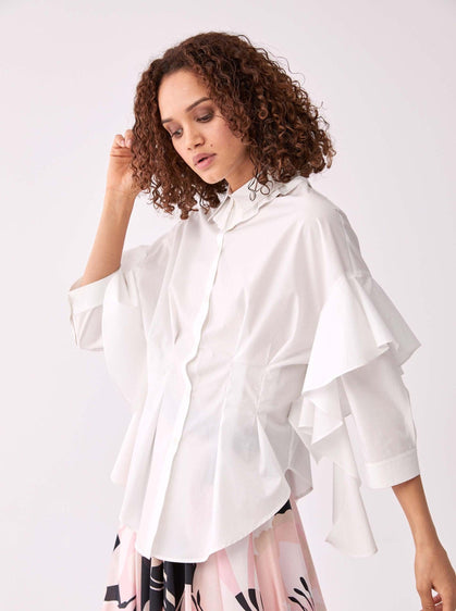 ROMAN USA-Layered Sleeve Waist-Structured Blouse-- [DUSTY - PINK]