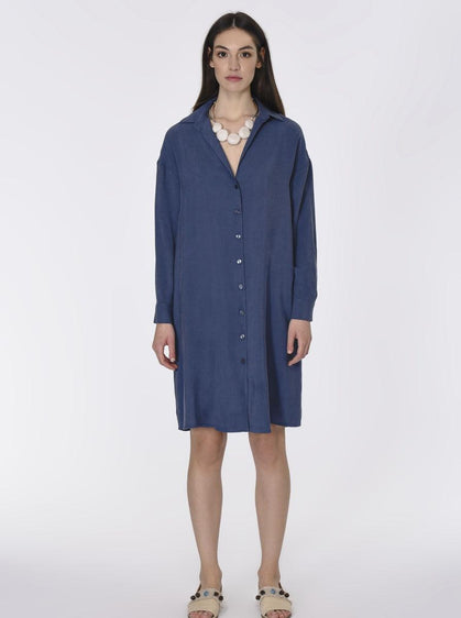 ROMAN USA-Essential Navy Shirt Dress-- [INDIGO]