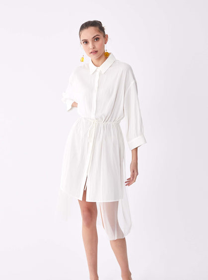 ROMAN USA-Essential Tunic Shirt Dress-- [BONE]
