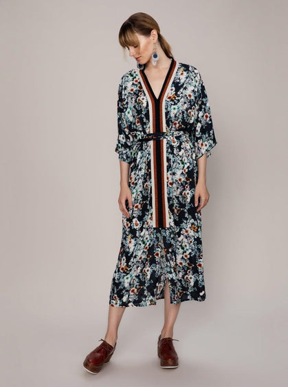 ROMAN USA-FLORAL DRESS WITH BELT-- [NAVY]