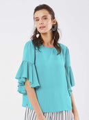 ROMAN USA-Bell Sleeve Scoop Top-- [TURQUOISE]
