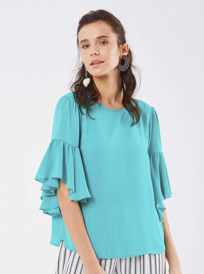 ROMAN USA-Bell Sleeve Scoop Top-- [FUCHSIA]