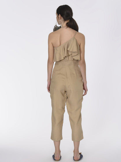 Ruffled Canvas Jumpsuit