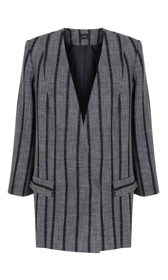 Longline Grey Striped Blazer