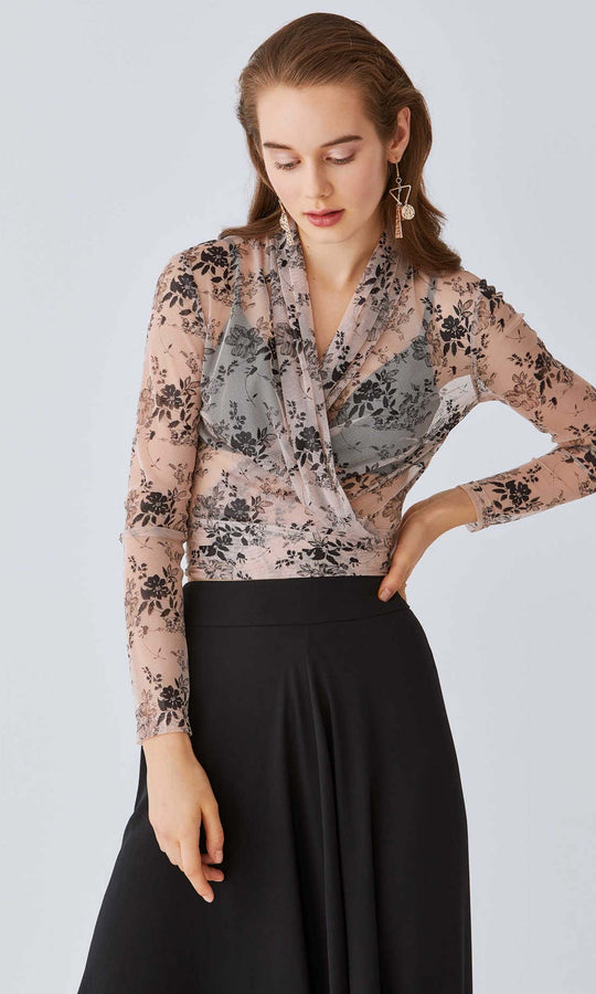 Sheer V-Neck Wrap Blouse