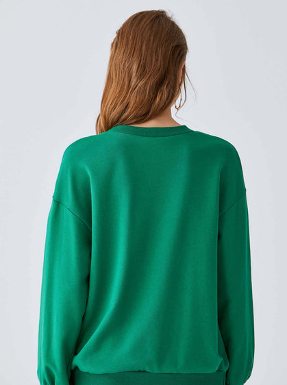 Buckle-Hem Emerald Crewneck