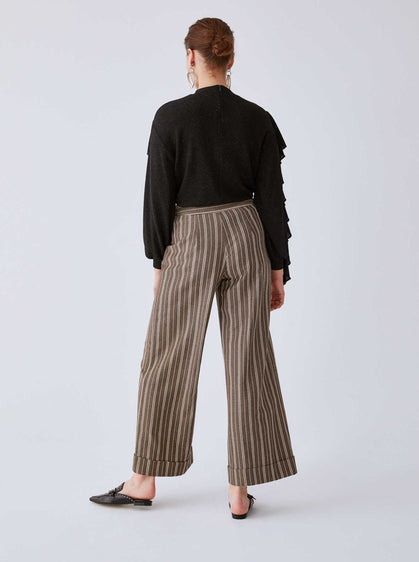 Dark Brown Pinstripe Cuffed Pant