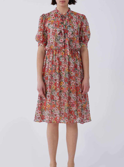Bow Neck Red Floral Dress