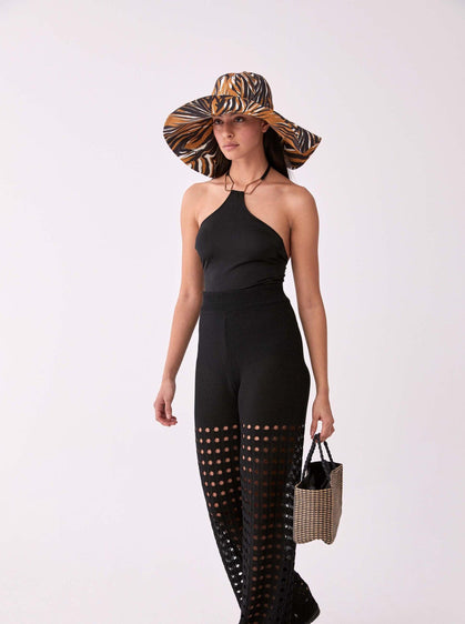 ROMAN USA-Wide Leg Cutout Summer Pant-- [BLACK]