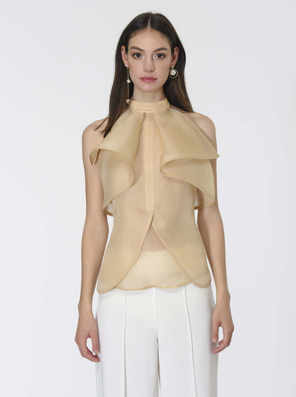 FRONT LAYERED SILK BLOUSE