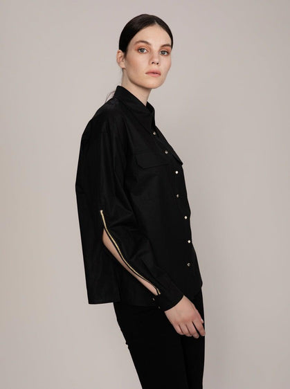 ROMAN USA-Slit Sleeve Button Down-- [BLACK]