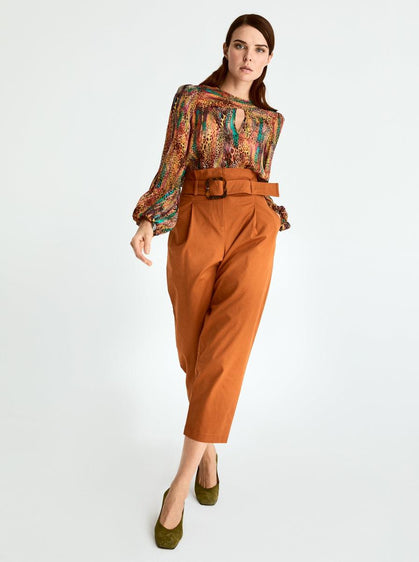 ROMAN USA-Cropped High Waist Belted Pant-- [BRICK]