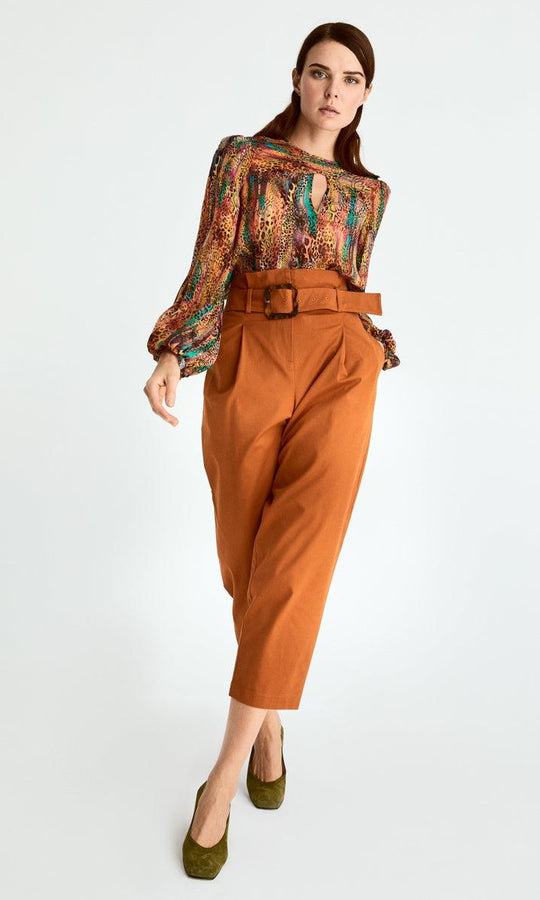 Cropped High Waist Belted Pant