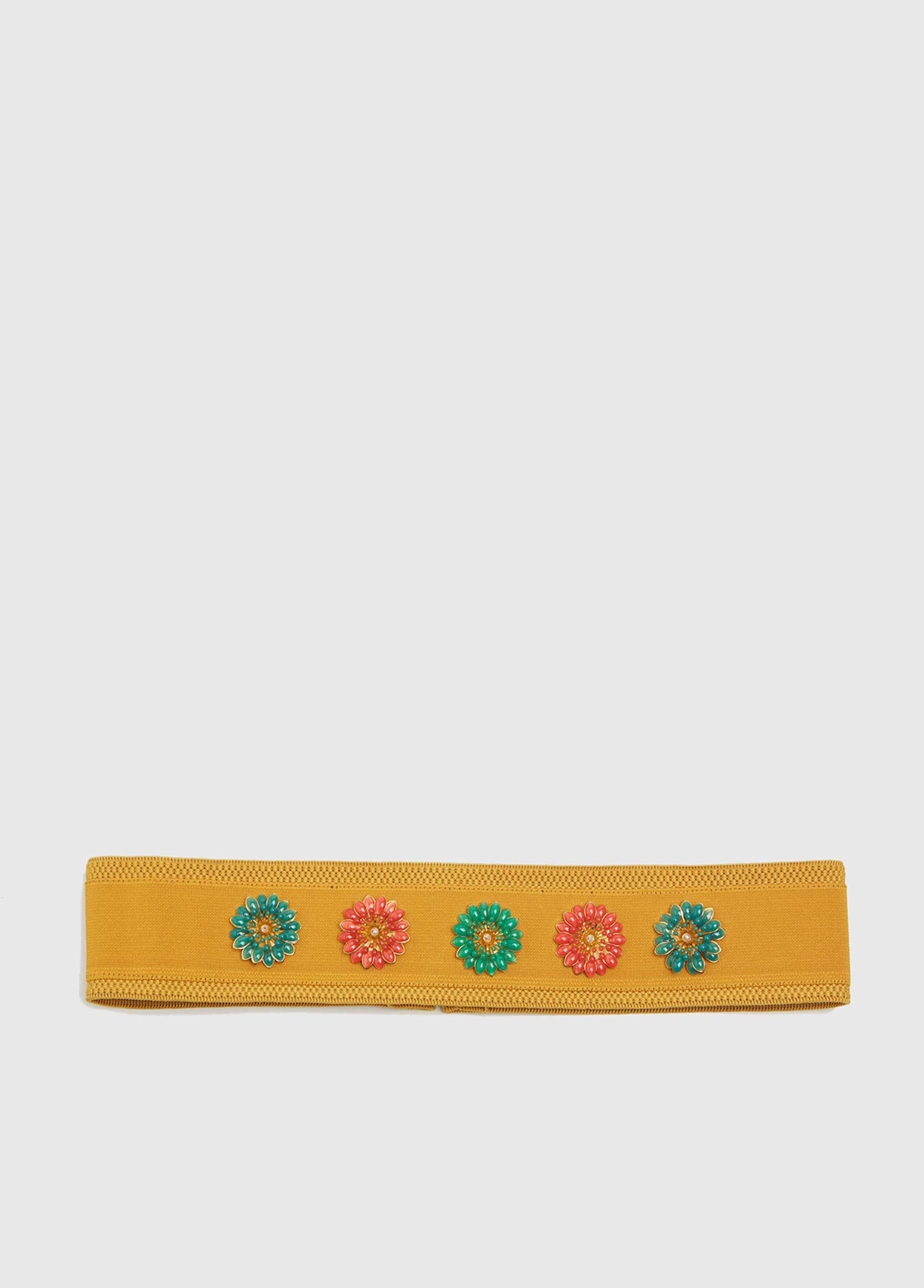 ROMAN USA-Orange Floral Embellished Waist Belt-- [ORIGINAL]