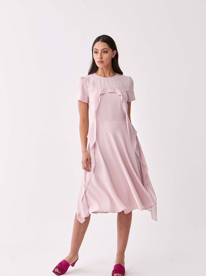 ROMAN USA-Powder Ruffle Trim Dress-- [POWDER]