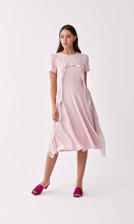 Powder Ruffle Trim Dress