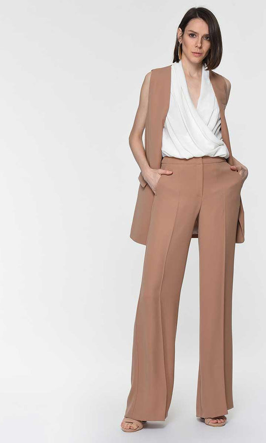 WIDE LEG CAMEL PANTS