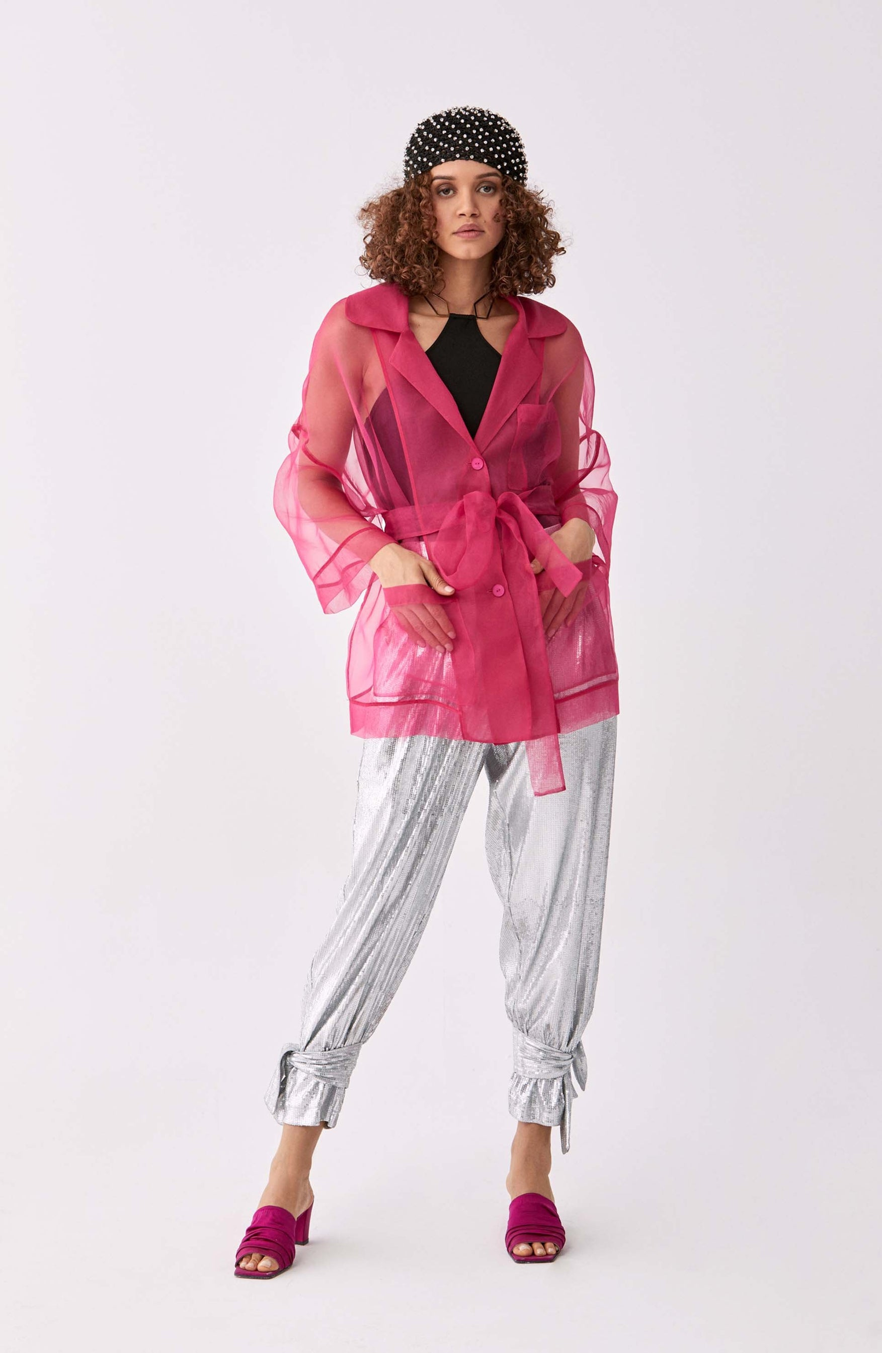 ROMAN USA-Sheer Fuchsia Longline Jacket-- [FUSCHIA]