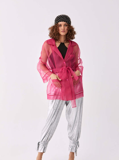 Sheer Fuchsia Longline Jacket