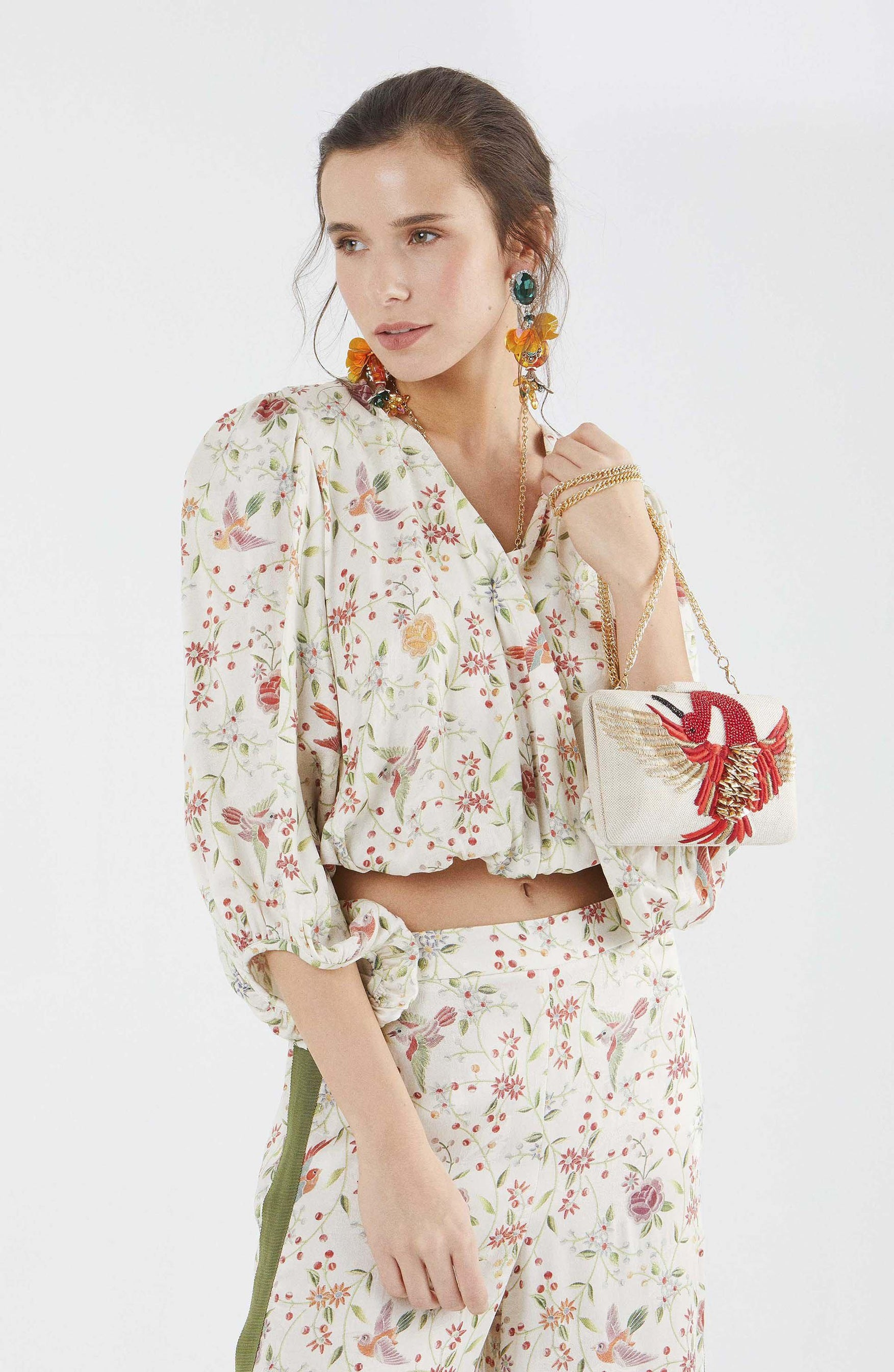 ROMAN USA-Dainty Floral Cropped Blouse-- [ORIGINAL]
