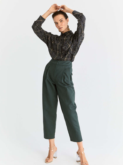 ROMAN USA-Cropped Boxy Fit Structured Pant-- [GREEN]