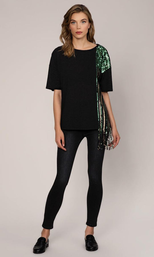 Asymmetrical Sequin Fringe T-Shirt