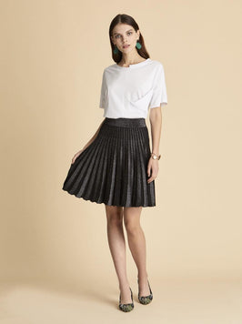 PLEATED KNITWEAR MINI SKIRT