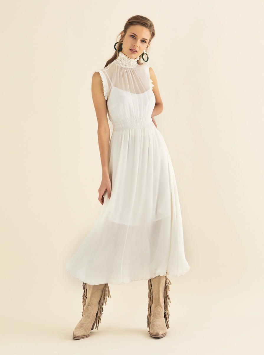 ROMAN USA-High Neck Sleeveless Maxi Dress-- [ECRU]