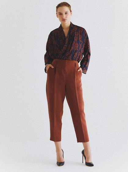 ROMAN USA-Ankle Cut Tapered Pant-- [BROWN