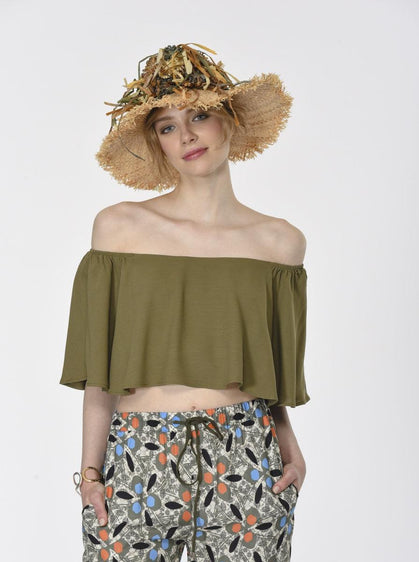 ROMAN USA-Flounce Off-Shoulder Top-- [KHAKI]