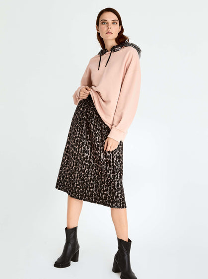 ROMAN USA-Pink Leopard Knit Skirt-- [ORIGINAL]