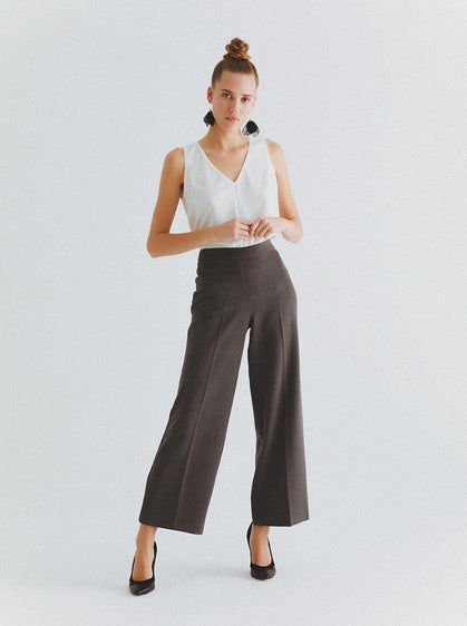 ROMAN USA-Grey Wide Leg Dress Pant-- [GREY]