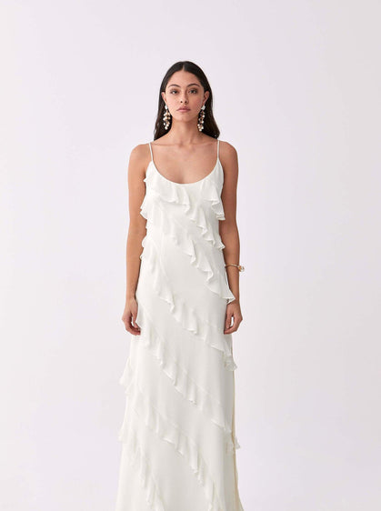 Ruffle Trim Sheath Gown