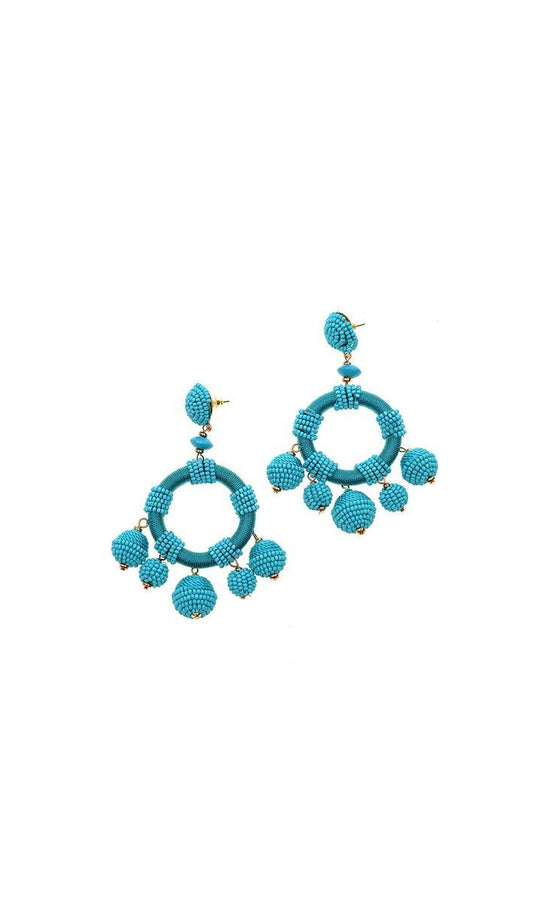 THREAD EMBELLISHED TURQUOISE HOOPS