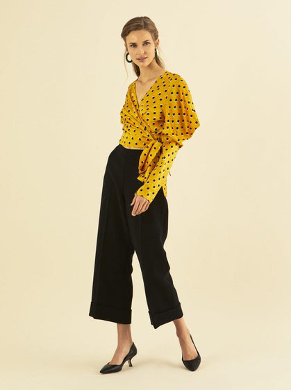 ROMAN USA-Wide Crop Cuffed Pant-- [MUSTARD]