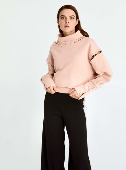 Patwork Cowl Neck Sweatshirt
