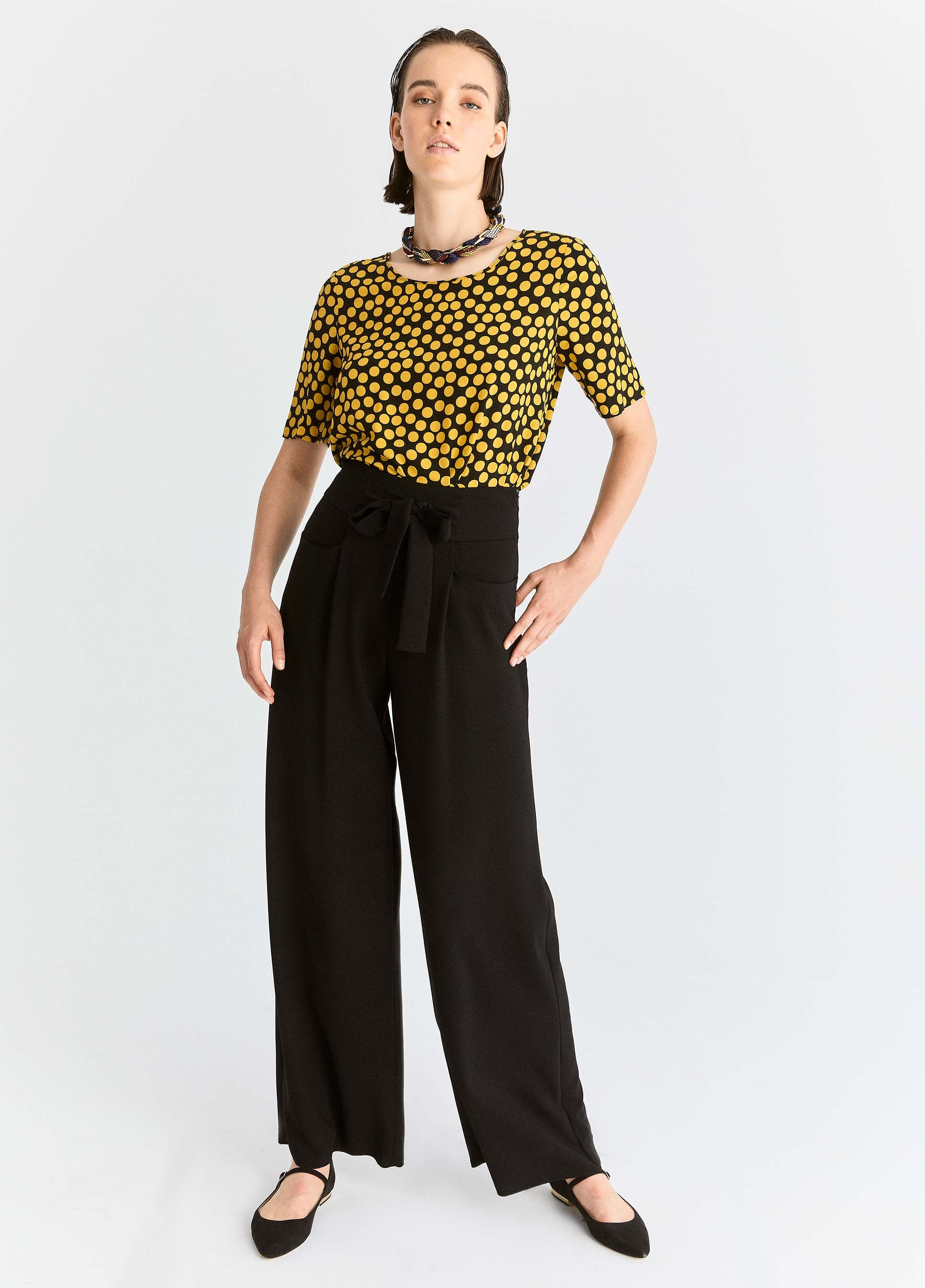 ROMAN USA-Wide Leg Bow-Belted Pant-- [PETROL]