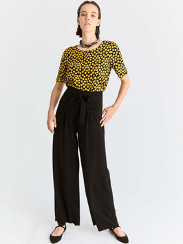 Wide Leg Bow-Belted Pant