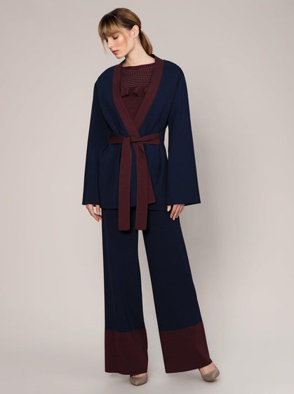ROMAN USA-Belted Navy Knit Cardi-- [NAVY] - [BLUE]-- [BURGUNDY]