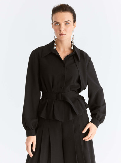 Lantern Sleeve Belted Blouse