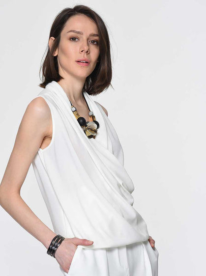 ROMAN USA-Draped Wrap-Front Blouse-'- [BONE]