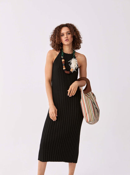 Accordion Pleat Halter Dress