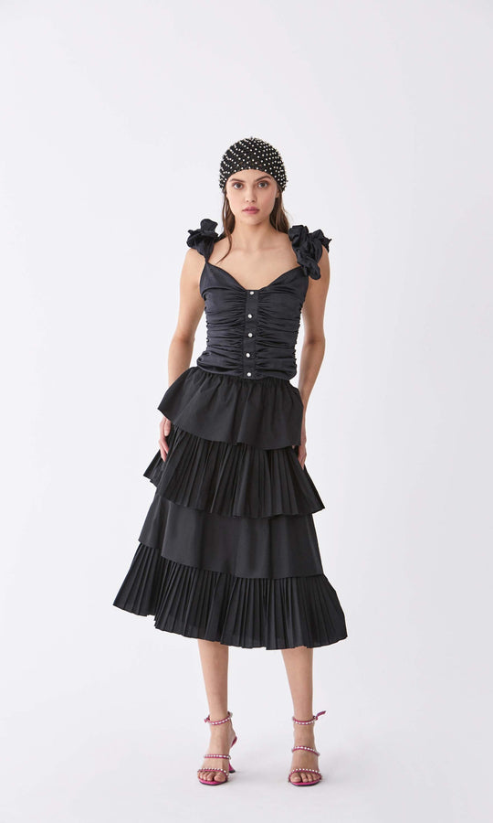 Black Tiered Accordion Skirt