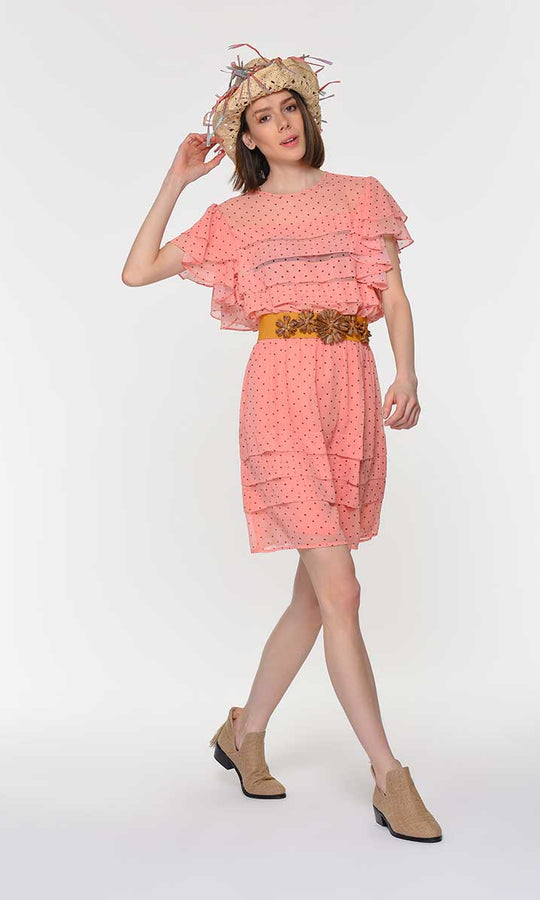 RUFFLE DETAILED CAP SLEEVE DRESS