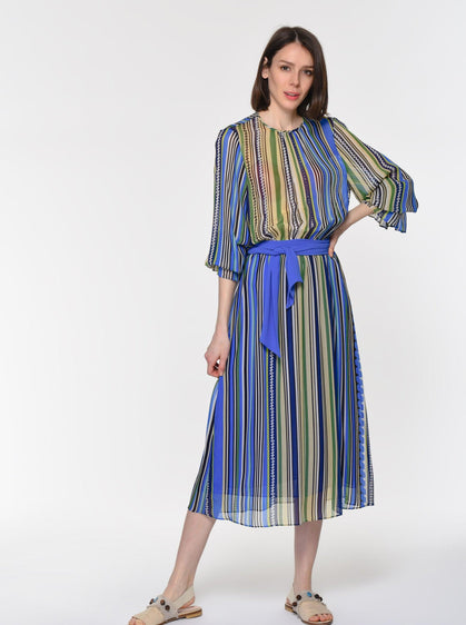 BELT DETAIL STRIPED DRESS