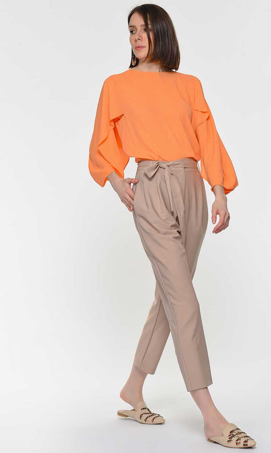 Tan Tie-Belt Ankle Pant